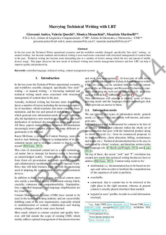 Preprint LR EC C N L 2014 Marrying Techinical Writing with LRT Giovanni Antico, Valeria Quochi*, Monica Monachini*, Mauriz...