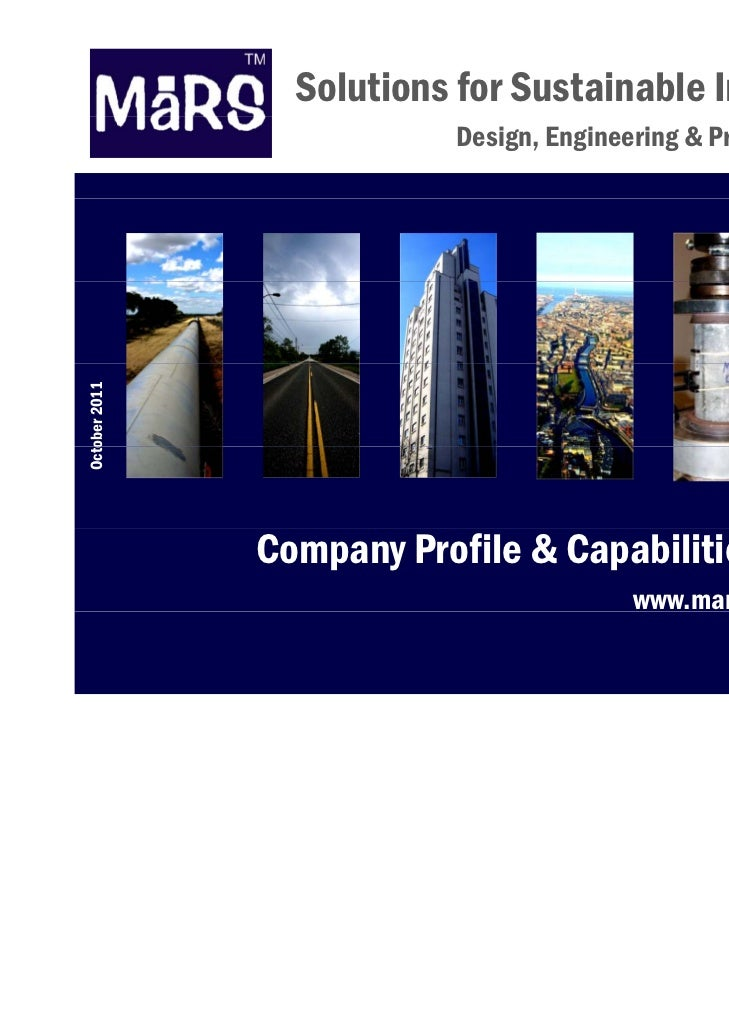 Solutions for Sustainable Infrastructure                       Design, Engineering & Project ManagementOcto 2011   ober   ...