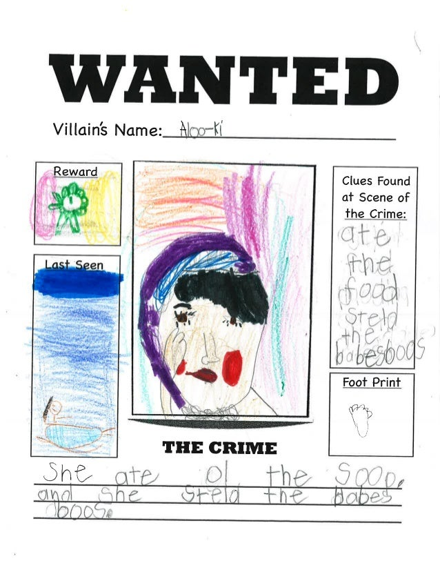 Wanted Posters - First Grade folktales Unit