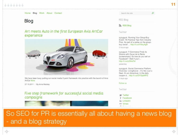 11So SEO for PR is essentially all about having a news blog- and a blog strategy