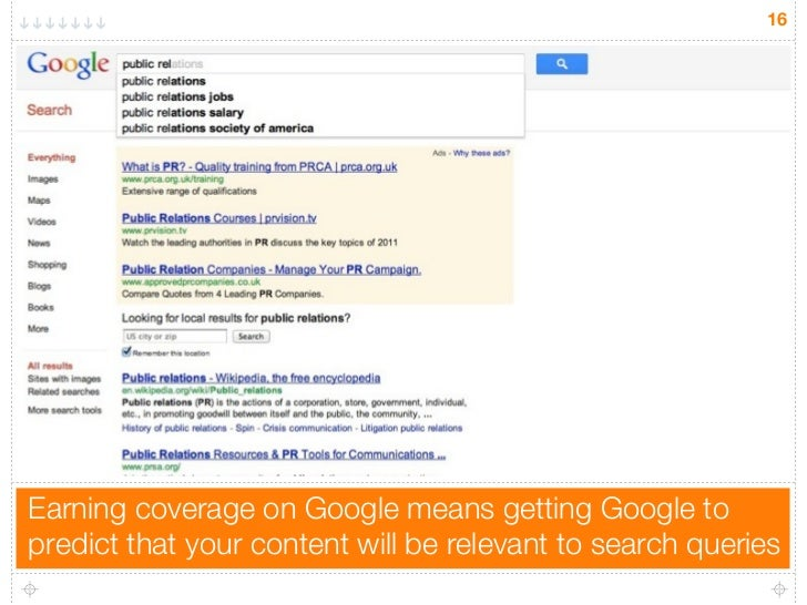 16Earning coverage on Google means getting Google topredict that your content will be relevant to search queries