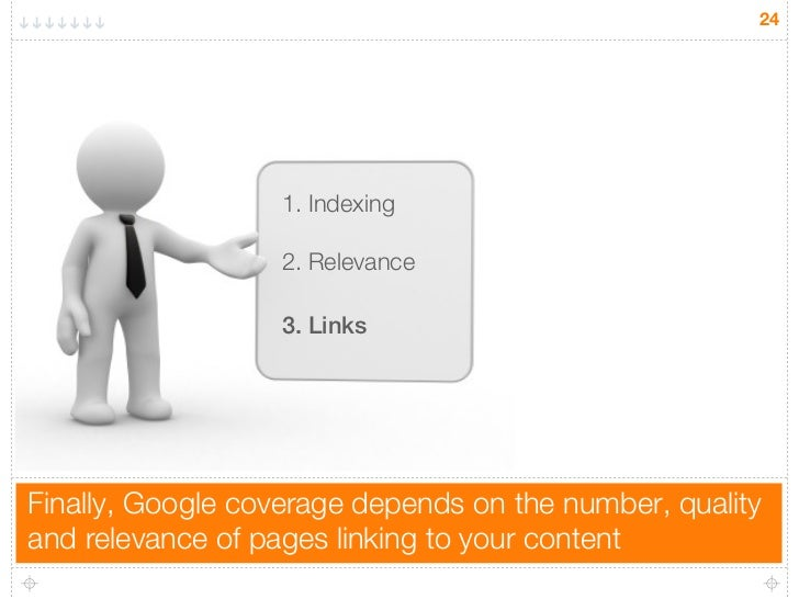 24                   1. Indexing                   2. Relevance                   3. LinksFinally, Google coverage depends...