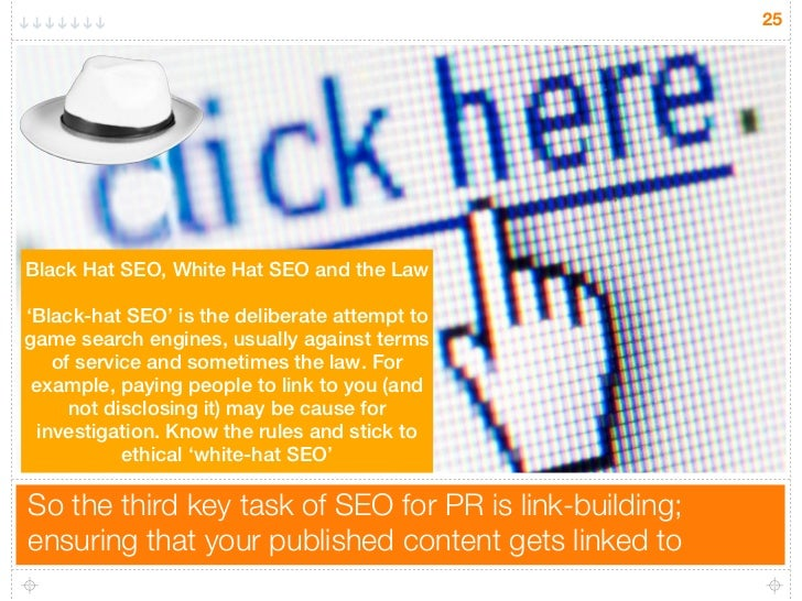 25Black Hat SEO, White Hat SEO and the Law'Black-hat SEO' is the deliberate attempt togame search engines, usually against...