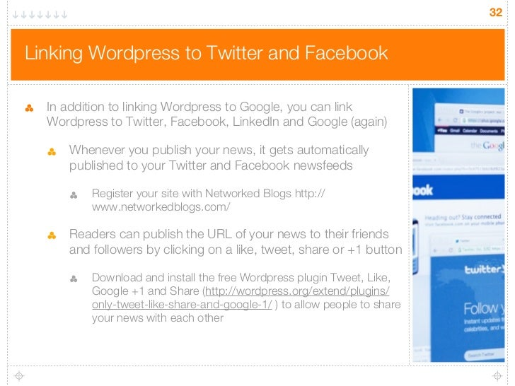 32Linking Wordpress to Twitter and Facebook  In addition to linking Wordpress to Google, you can link  Wordpress to Twitte...