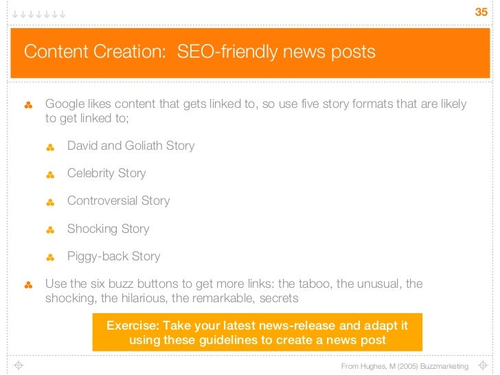 35Content Creation: SEO-friendly news posts  Google likes content that gets linked to, so use five story formats that are ...