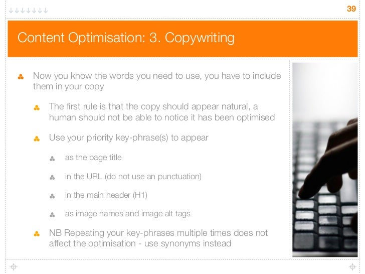 39Content Optimisation: 3. Copywriting  Now you know the words you need to use, you have to include  them in your copy    ...