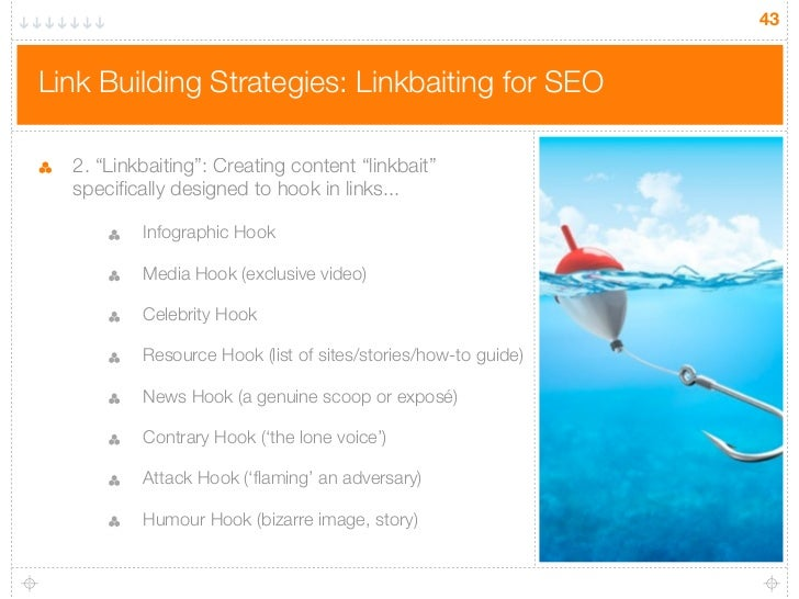 """43Link Building Strategies: Linkbaiting for SEO  2. """"Linkbaiting"""": Creating content """"linkbait""""  specifically designed to h..."""