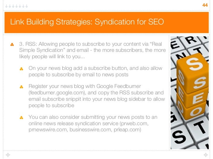 """44Link Building Strategies: Syndication for SEO  3. RSS: Allowing people to subscribe to your content via """"Real  Simple Sy..."""