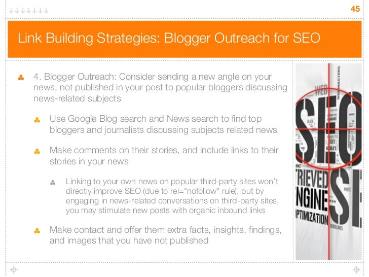 45Link Building Strategies: Blogger Outreach for SEO  4. Blogger Outreach: Consider sending a new angle on your  news, not...
