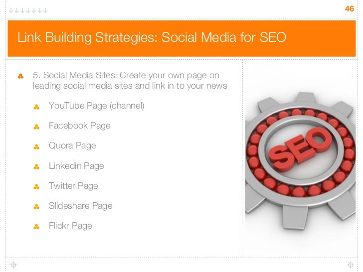 46Link Building Strategies: Social Media for SEO  5. Social Media Sites: Create your own page on  leading social media sit...