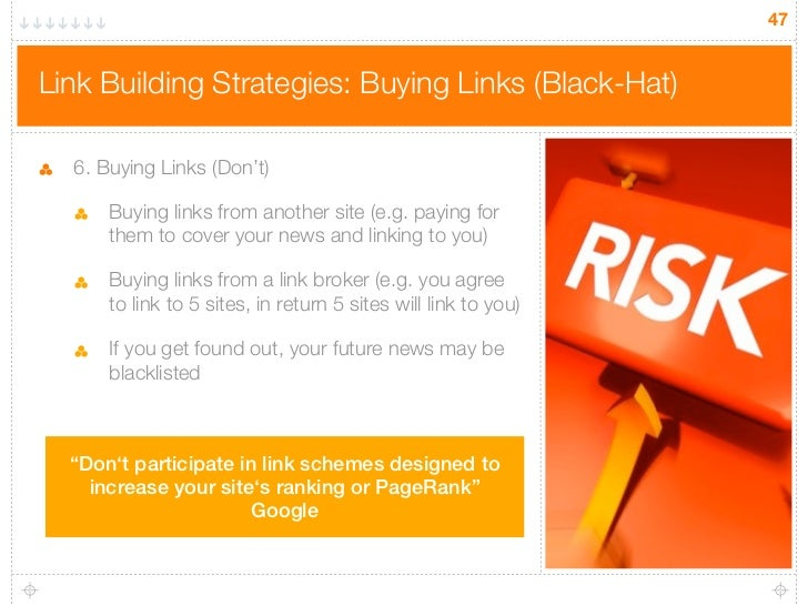 47Link Building Strategies: Buying Links (Black-Hat)  6. Buying Links (Don't)      Buying links from another site (e.g. pa...