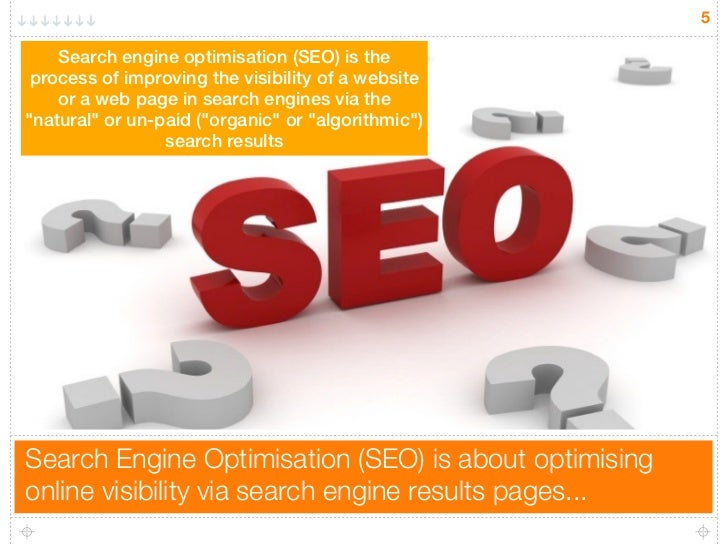 5    Search engine optimisation (SEO) is the process of improving the visibility of a website    or a web page in search e...