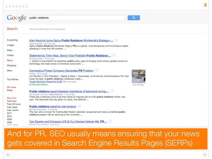 6And for PR, SEO usually means ensuring that your newsgets covered in Search Engine Results Pages (SERPs)