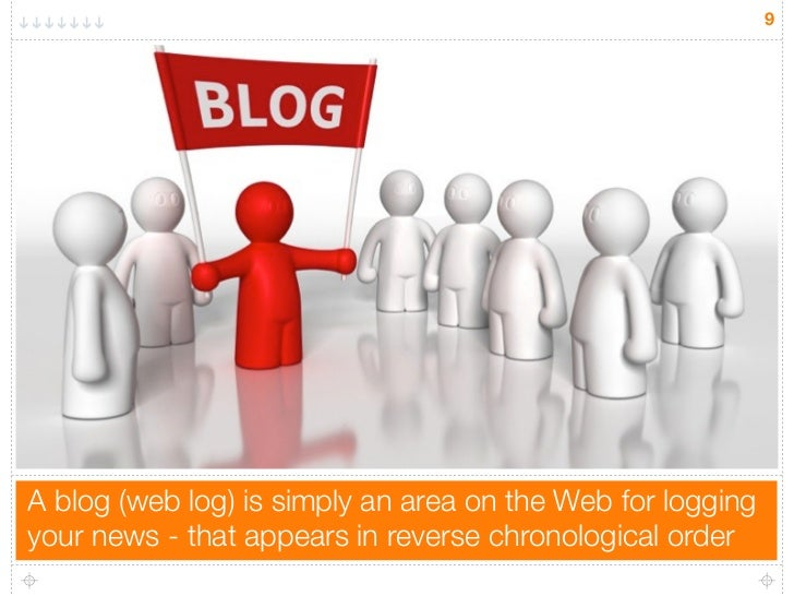 9A blog (web log) is simply an area on the Web for loggingyour news - that appears in reverse chronological order