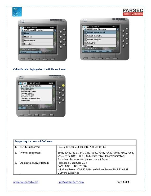 MARS Directory & Caller Details for Cisco CUCM