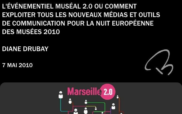 L'ÉVÉNEMENTIEL MUSÉAL 2.0 OU COMMENT EXPLOITER TOUS LES NOUVEAUX MÉDIAS ET OUTILS DE COMMUNICATION POUR LA NUIT EUROPÉENNE...