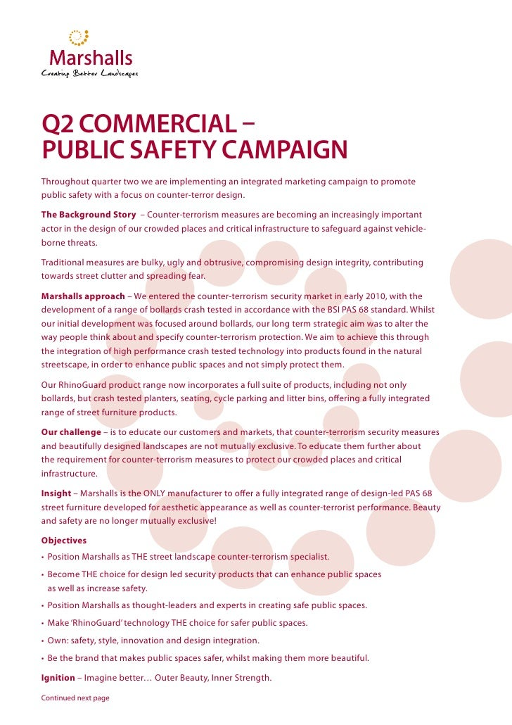 Q2 COMMERCIAL –PUBLIC SAFETY CAMPAIGNThroughout quarter two we are implementing an integrated marketing campaign to promot...