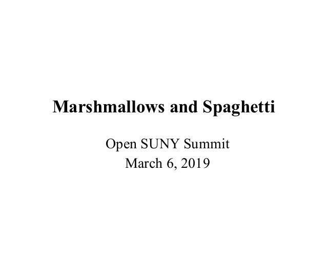 Marshmallows and Spaghetti Open SUNY Summit March 6, 2019