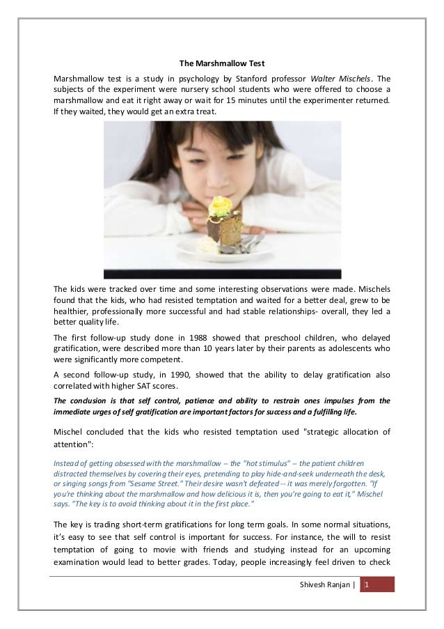"""marshmallow test research paper Christian world view 1 """"the marshmallow test is an experiment with preschool children to see if they can wait for a full reward and delay gratification."""