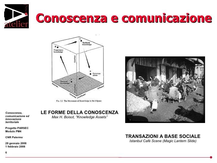 """Conoscenza e comunicazione LE FORME DELLA CONOSCENZA Max H. Boisot, """"Knowledge Assets"""" TRANSAZIONI A BASE SOCIALE Istanbul..."""