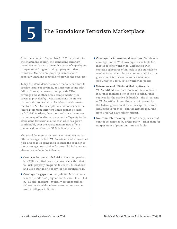 is terrorism an insurable risk The terrorism risk insurance act of 2002, as amended and extended by the ter-rorism risk insurance act of 2005 and the terrorism risk insurance program reautho - rization act of 2007 (together referred to as tria), was initiated in the wake of the shock - ing september 11, 2001, terrorist attacks in.
