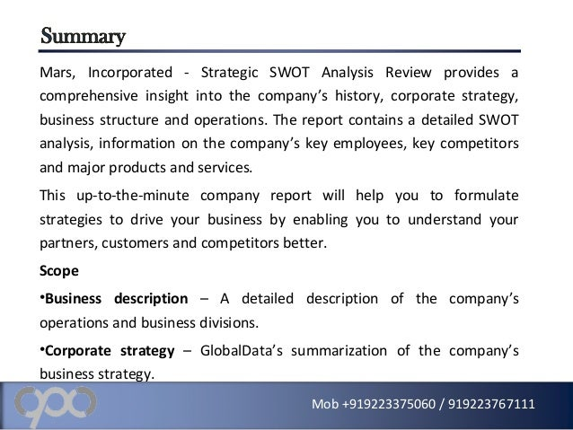Mars Incorporated Strategic Swot Analysis Review