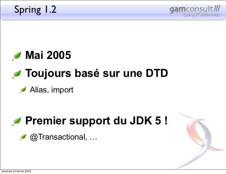 Spring 1.2                   Mai 2005                   Toujours basé sur une DTD                       Alias, import     ...