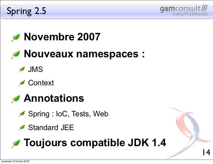 Spring 2.5                   Novembre 2007                   Nouveaux namespaces :                       JMS              ...