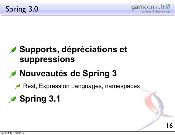 Spring 3.0                   Supports, dépréciations et                   suppressions                   Nouveautés de Spr...