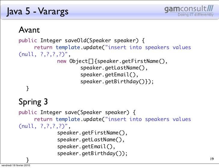 Java 5 - Varargs              Avant              public Integer saveOld(Speaker speaker) {                return templat...