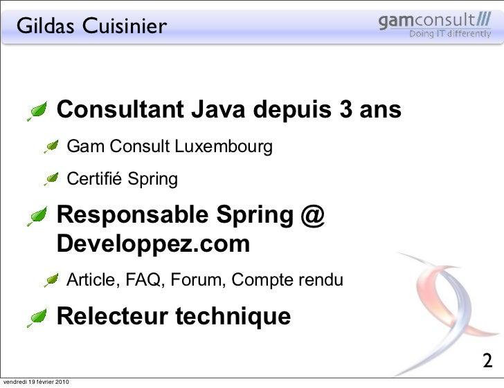 Gildas Cuisinier                   Consultant Java depuis 3 ans                       Gam Consult Luxembourg              ...