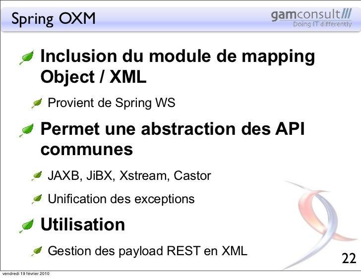 Spring OXM                   Inclusion du module de mapping                   Object / XML                       Provient ...