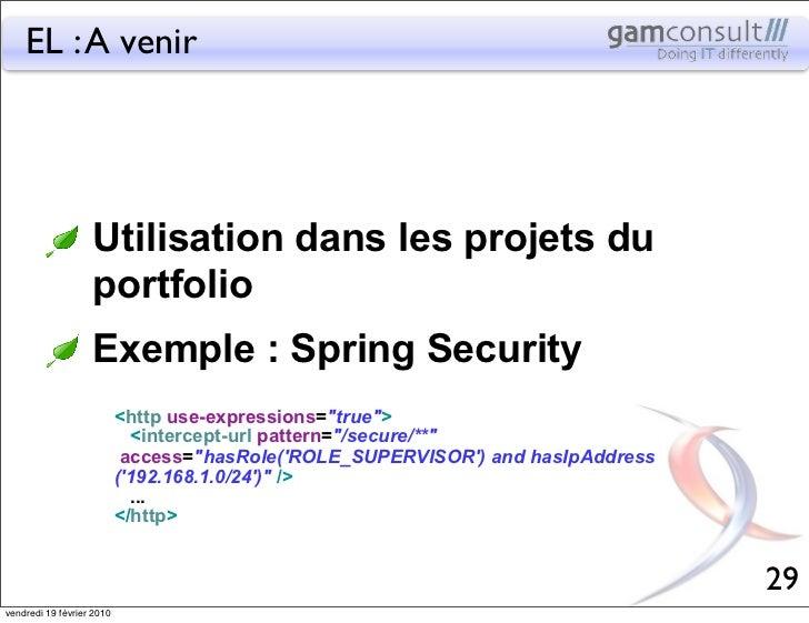 EL : A venir                   Utilisation dans les projets du                   portfolio                   Exemple : Spr...