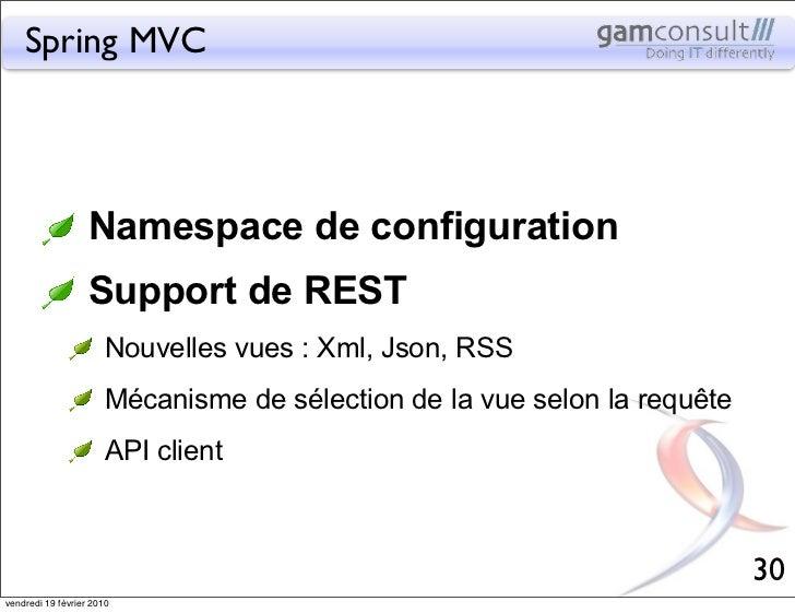 Spring MVC                   Namespace de configuration                   Support de REST                       Nouvelles ...