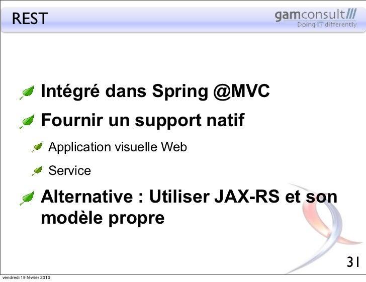 REST                   Intégré dans Spring @MVC                   Fournir un support natif                       Applicati...