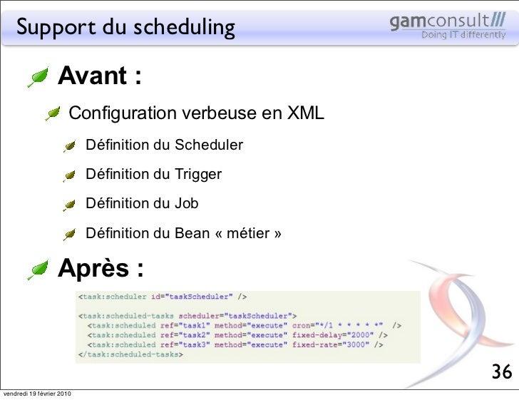 Support du scheduling                   Avant :                       Configuration verbeuse en XML                       ...