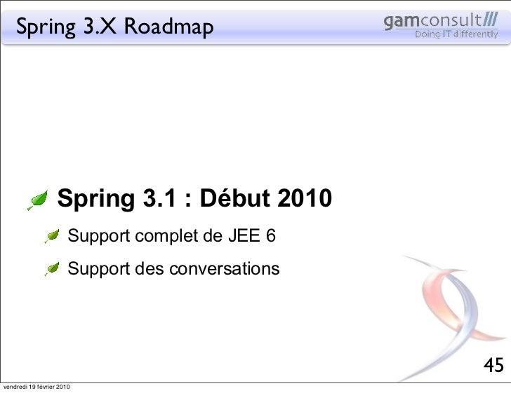 Spring 3.X Roadmap                   Spring 3.1 : Début 2010                       Support complet de JEE 6               ...
