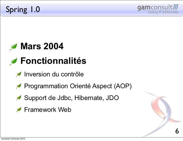 Spring 1.0                   Mars 2004                   Fonctionnalités                       Inversion du contrôle      ...