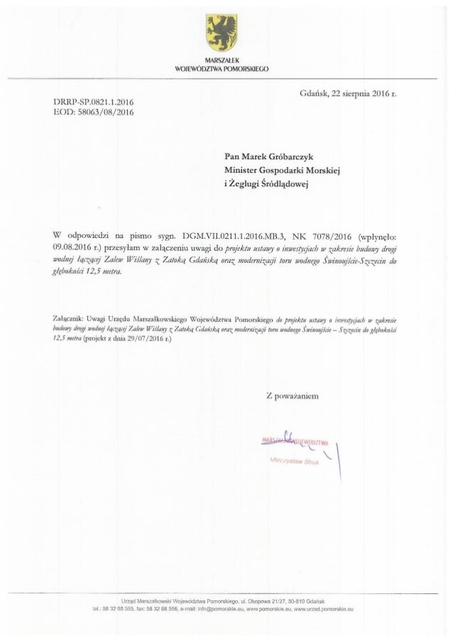 Głos marszałka województwa pomorskiego ws. przekopu