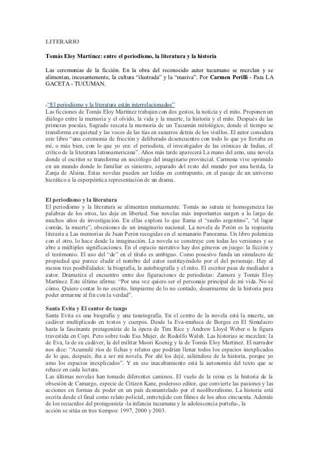LITERARIOTomás Eloy Martínez: entre el periodismo, la literatura y la historiaLas ceremonias de la ficción. En la obra del...