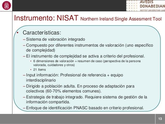 13 Instrumento: NISAT Northern Ireland Single Assesment Tool • Características: – Sistema de valoración integrado – Compue...