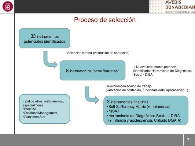 """7 Proceso de selección 33 instrumentos potenciales identificados 8 instrumentos """"semi finalistas"""" 3 instrumentos finalista..."""
