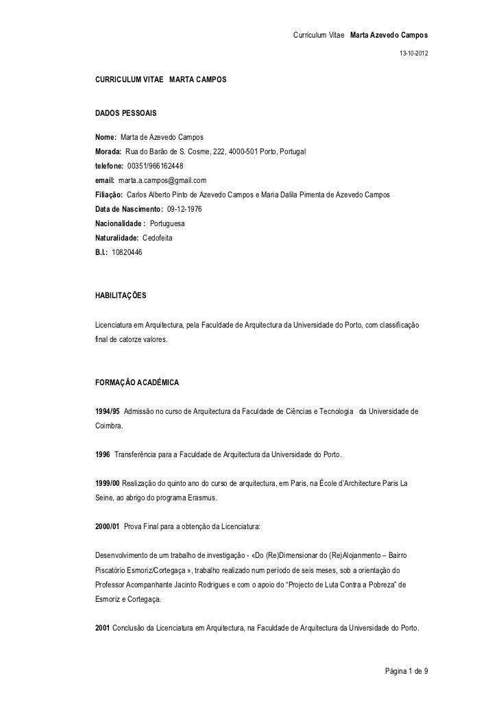 Curriculum Vitae Marta Azevedo Campos                                                                                     ...