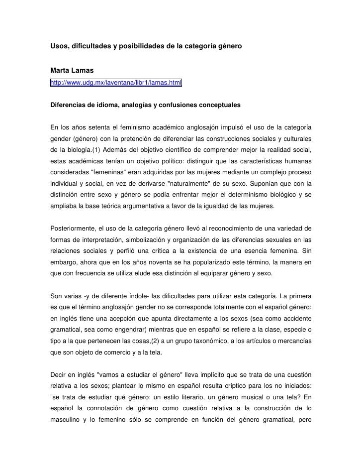 Usos, dificultades y posibilidades de la categoría géneroMarta Lamashttp://www.udg.mx/laventana/libr1/lamas.htmlDiferencia...