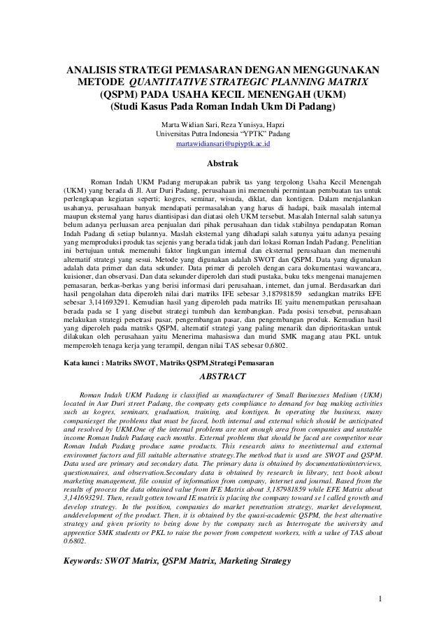 Analisis Strategi Pemasaran Dengan Menggunakan Metode Quantitative S