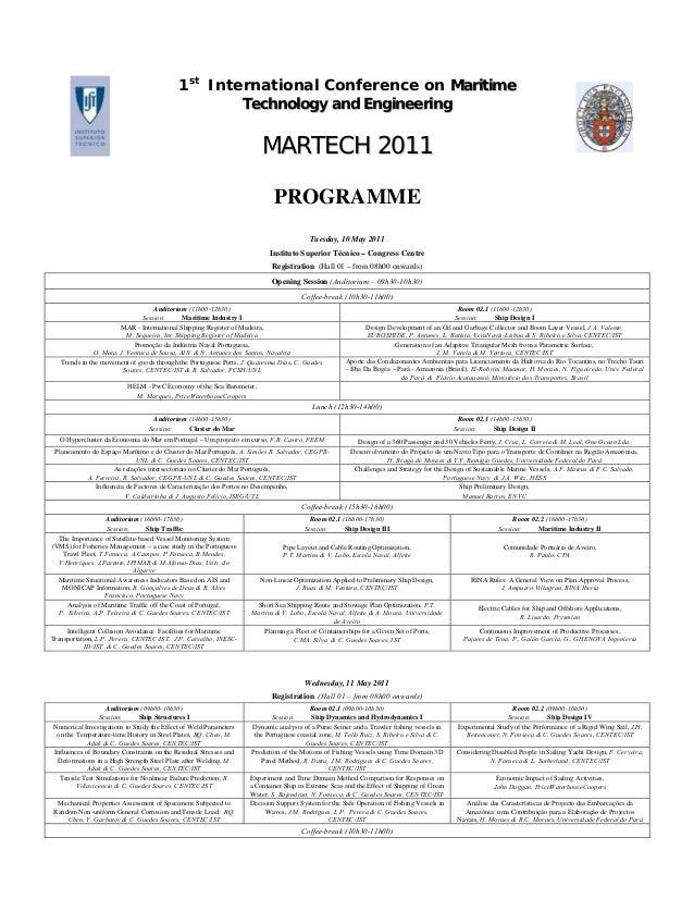 1stInternational Conference on MMaarriittiimmeeTTeecchhnnoollooggyy aanndd EEnnggiinneeeerriinnggMMAARRTTEECCHH 22001111PR...