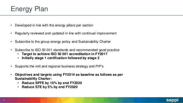 Energy Plan 11 • Developed in line with the energy pillars per section • Regularly reviewed and updated in line with conti...