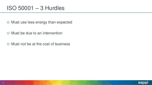 ISO 50001 – 3 Hurdles  Must use less energy than expected  Must be due to an intervention  Must not be at the cost of b...