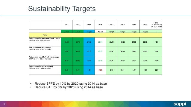 Sustainability Targets 15 • Reduce SPFE by 10% by 2020 using 2014 as base • Reduce STE by 5% by 2020 using 2014 as base