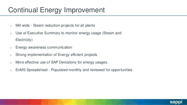 Continual Energy Improvement o Mill wide - Steam reduction projects for all plants o Use of Executive Summary to monitor e...